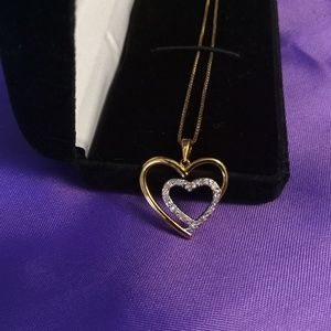 Jewelry - Beautiful double heart love pendant and necklace.